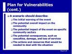 plan for vulnerabilities cont