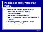 prioritizing risks hazards cont