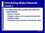 prioritizing risks hazards cont17