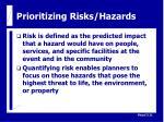 prioritizing risks hazards