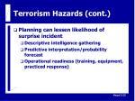 terrorism hazards cont