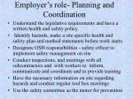 employer s role planning and coordination