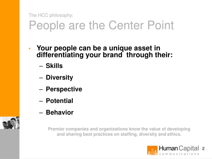The hcc philosophy people are the center point
