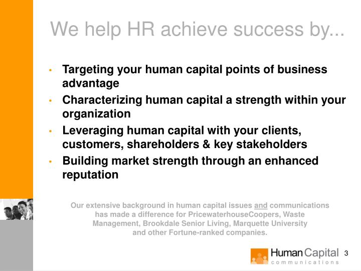 We help hr achieve success by