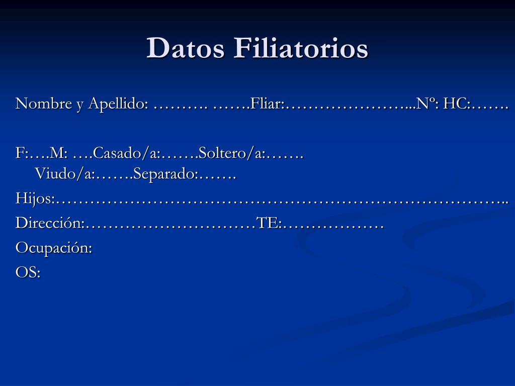 Datos Filiatorios