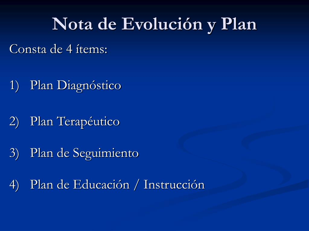 Nota de Evolución y Plan