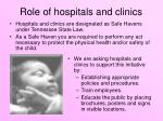 role of hospitals and clinics