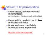 streamit implementation