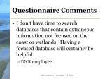 questionnaire comments