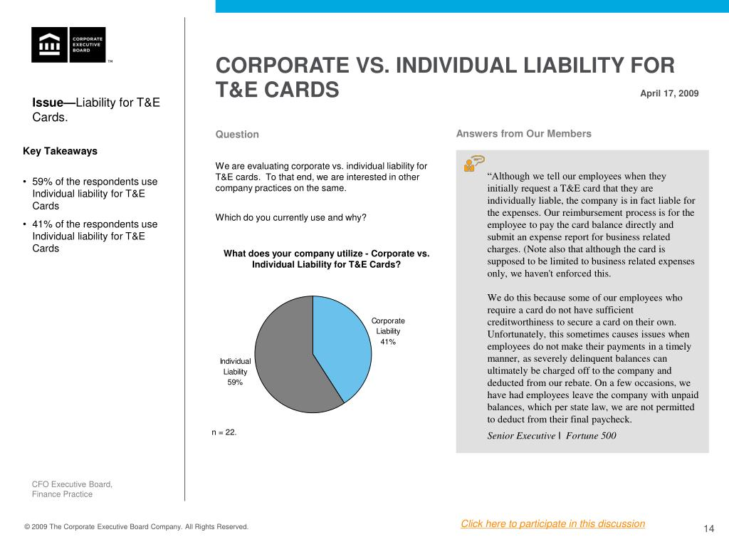 CORPORATE VS. INDIVIDUAL LIABILITY FOR T&E CARDS