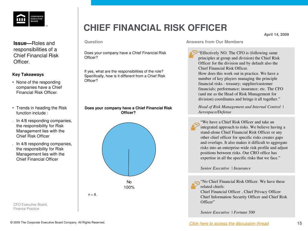 Chief Financial Risk Officer