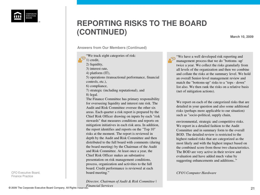 Reporting Risks to the Board