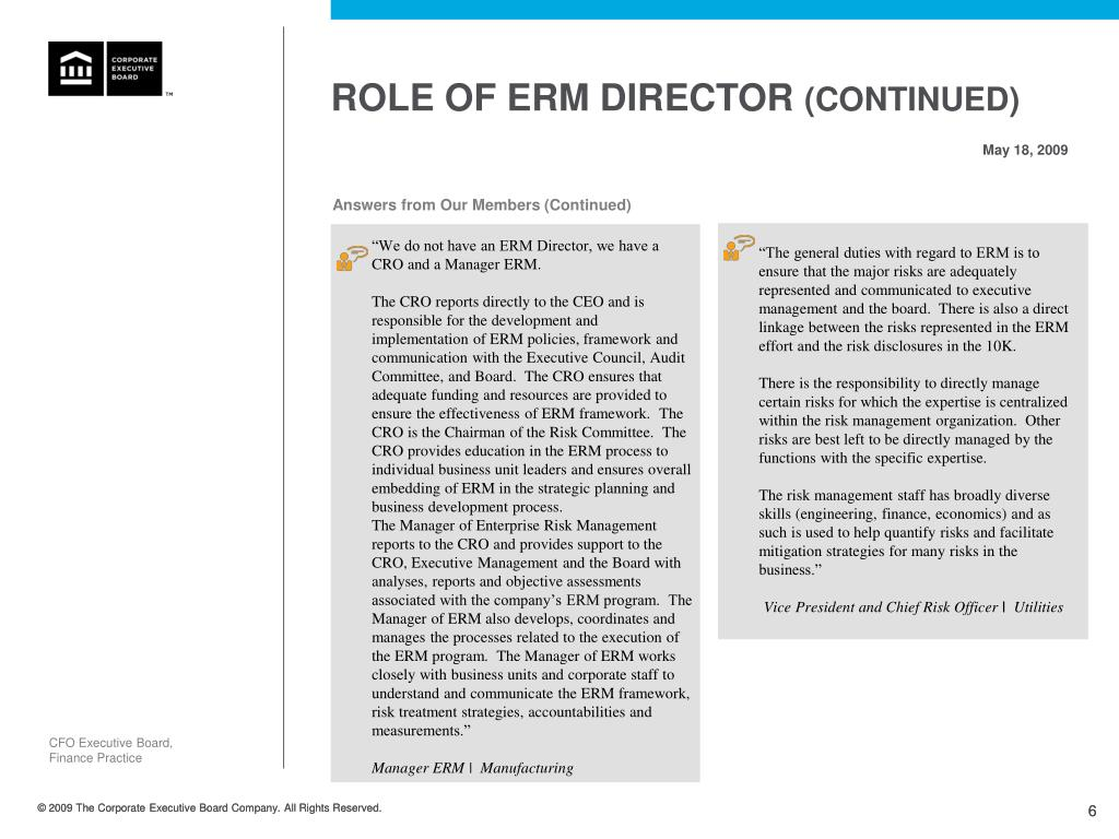 ROLE OF ERM DIRECTOR