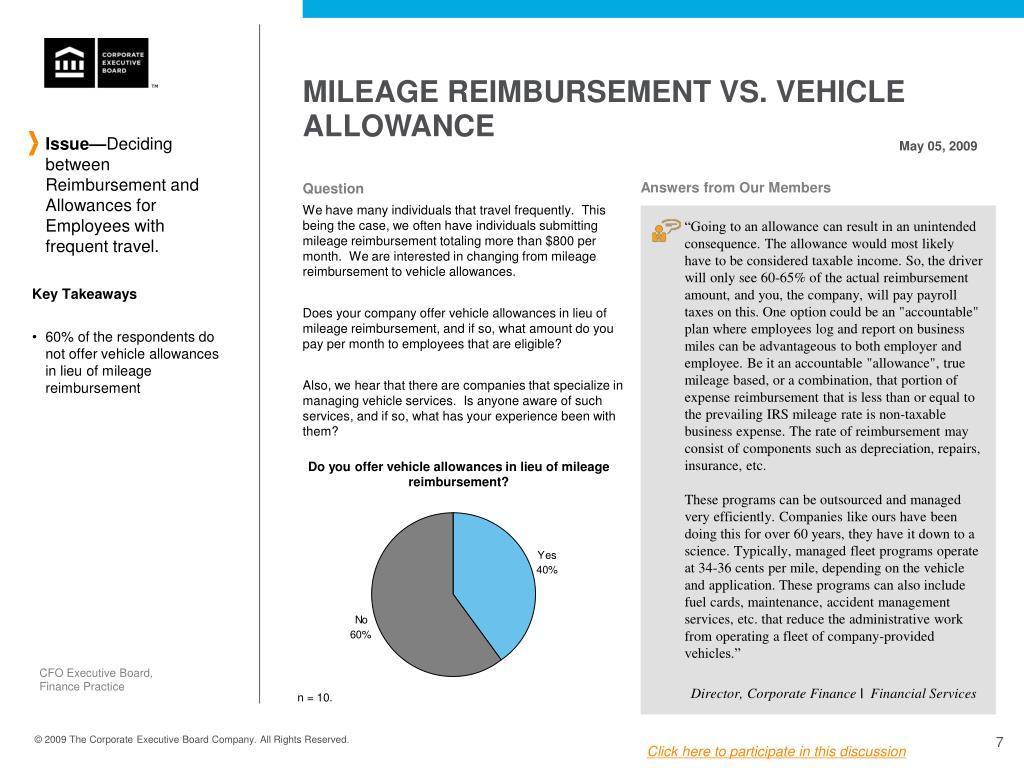 MILEAGE REIMBURSEMENT VS. VEHICLE ALLOWANCE