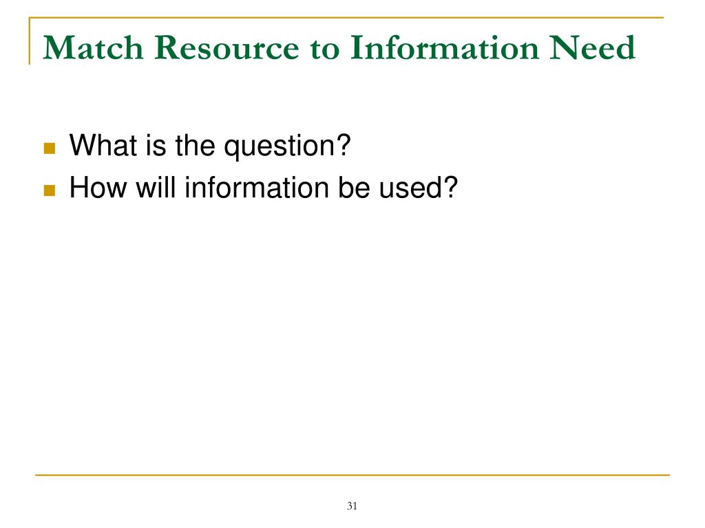 Match Resource to Information Need