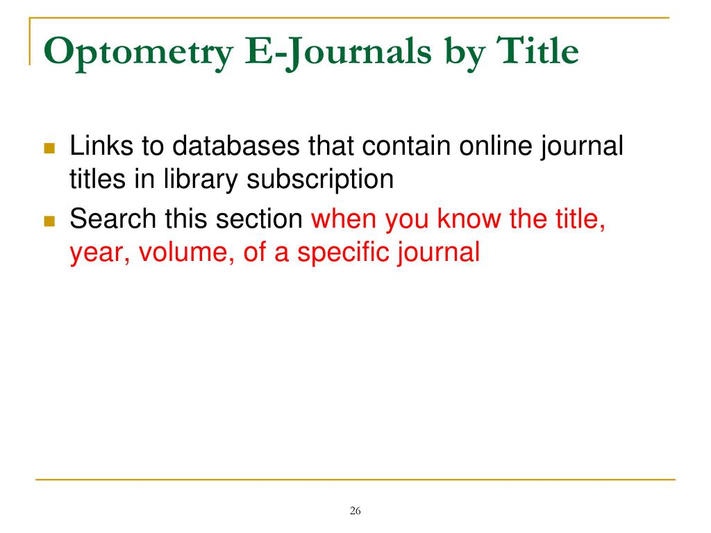 Optometry E-Journals by Title