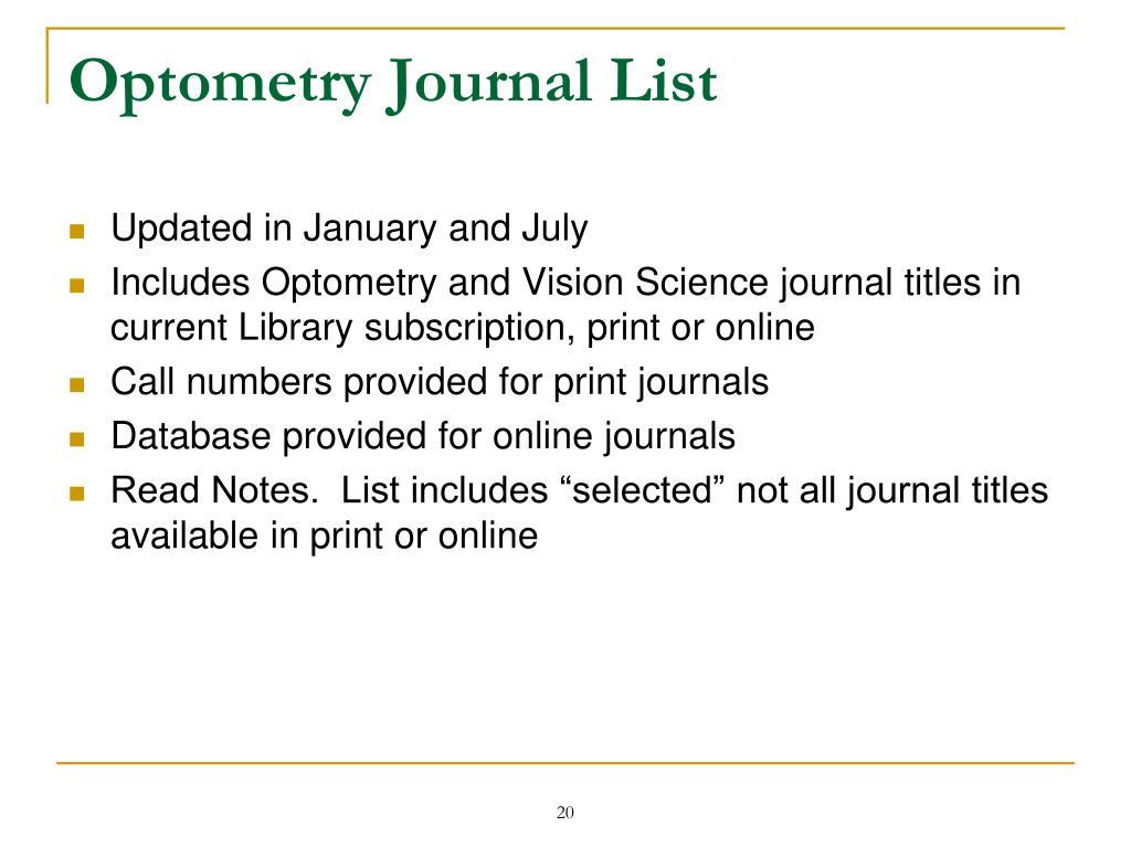 Optometry Journal List