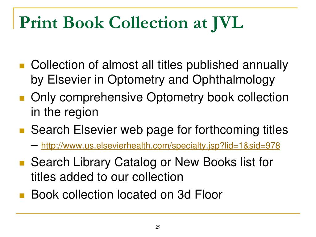 Print Book Collection at JVL
