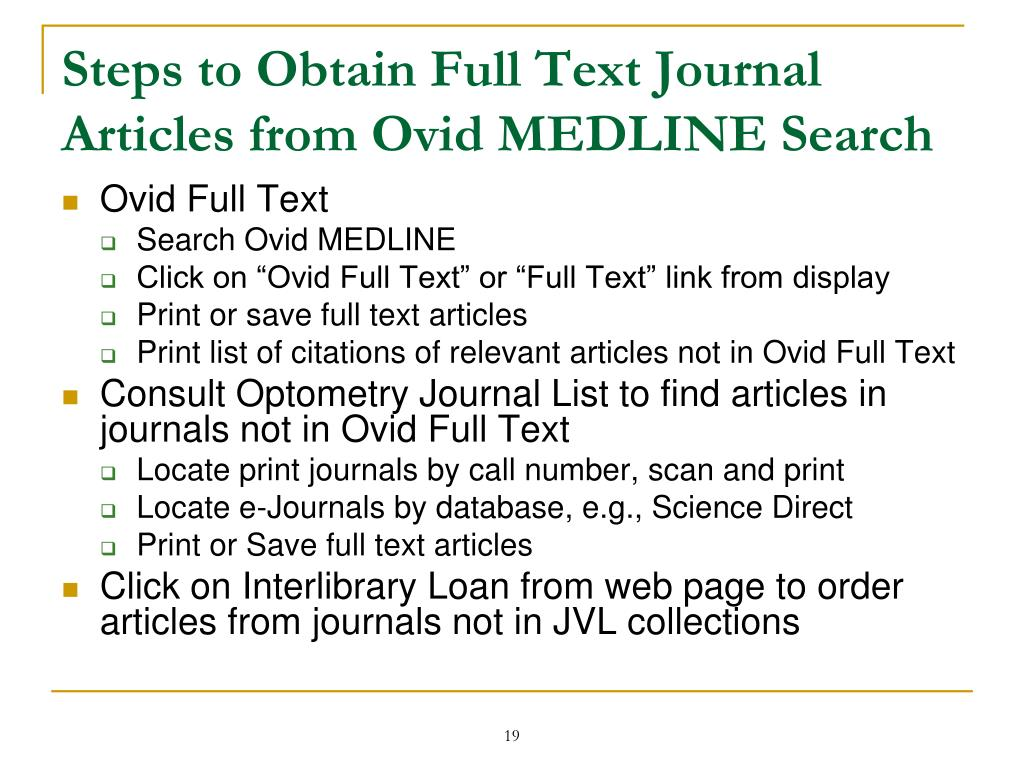 Steps to Obtain Full Text Journal Articles from Ovid MEDLINE Search