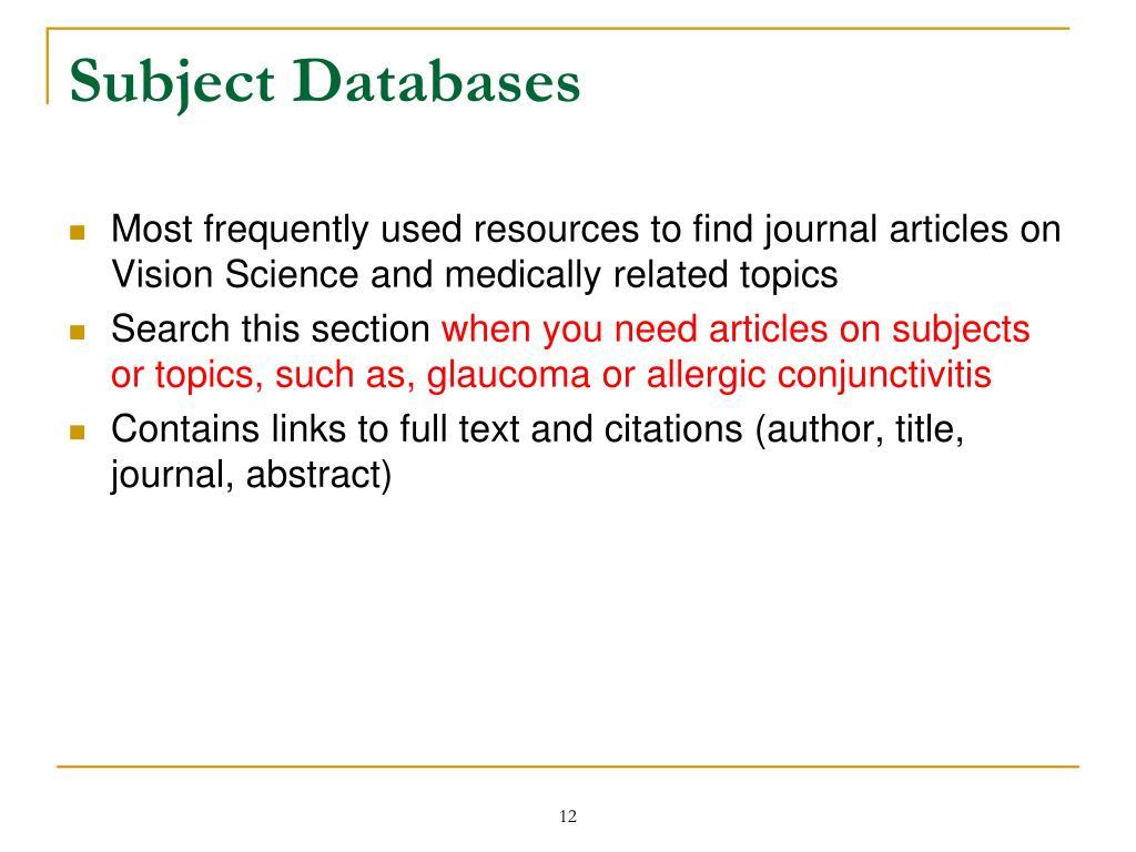 Subject Databases