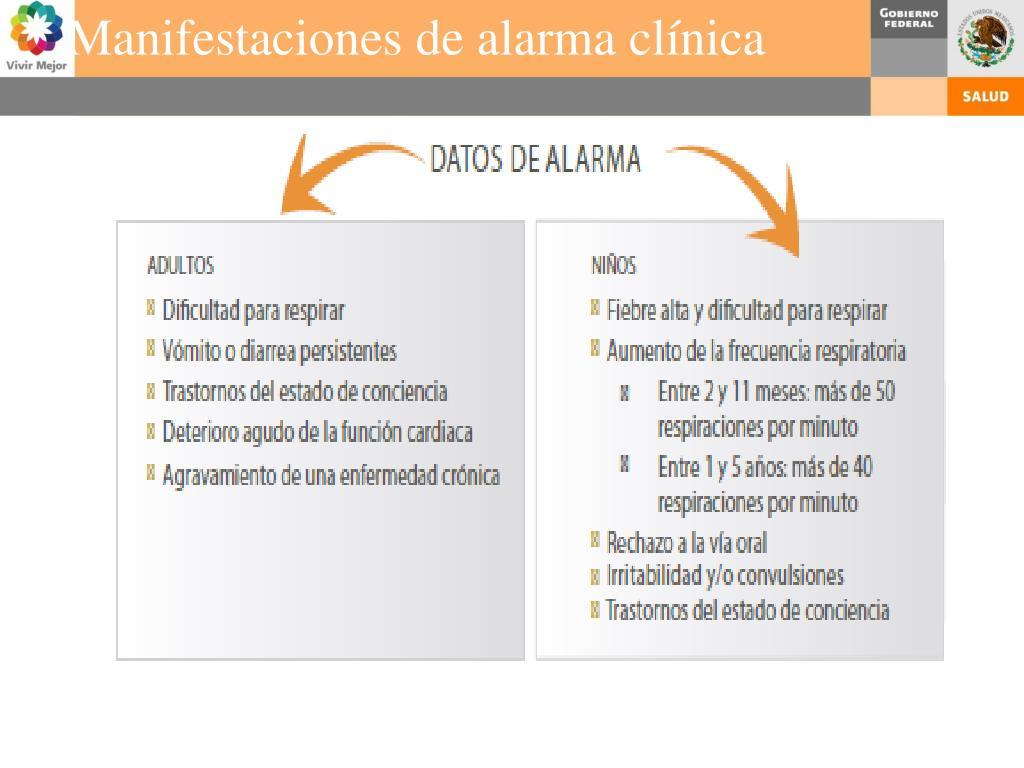 Manifestaciones de alarma clínica