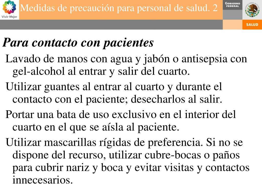 Para contacto con pacientes