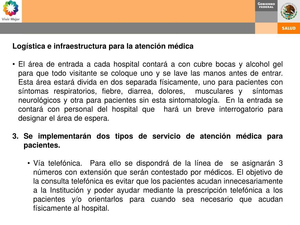 Logística e infraestructura para la atención médica