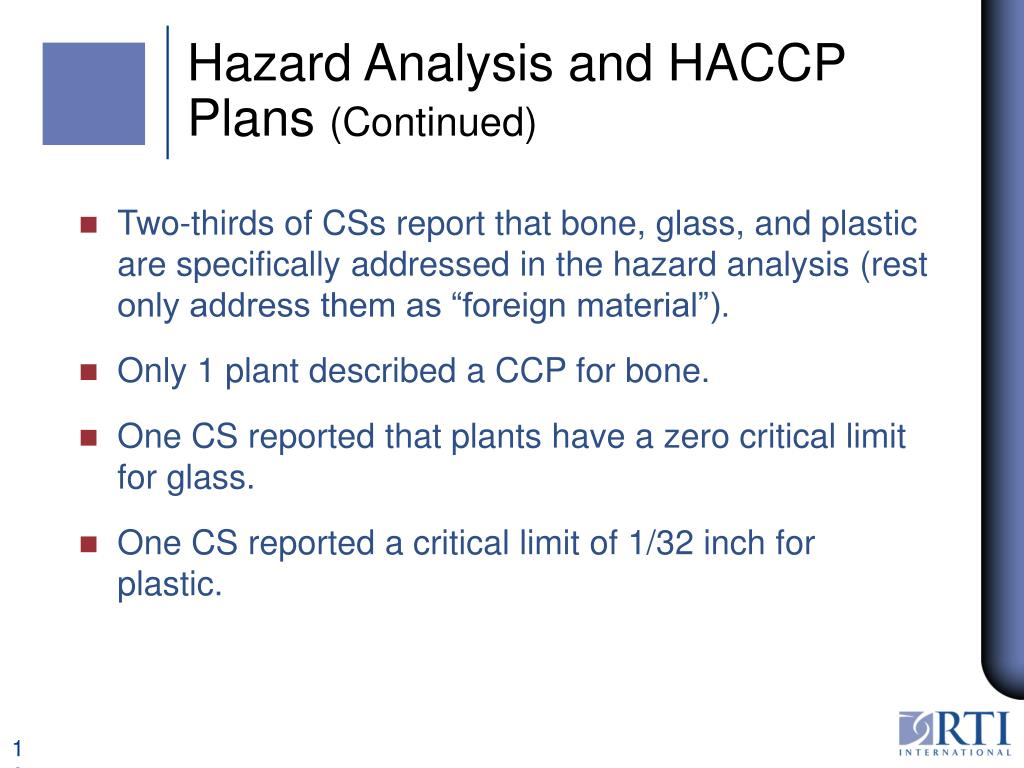 Hazard Analysis and HACCP Plans