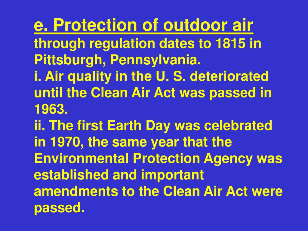 e. Protection of outdoor air