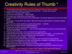 creativity rules of thumb