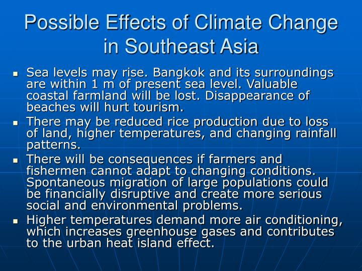 Possible Effects of Climate Change in Southeast Asia