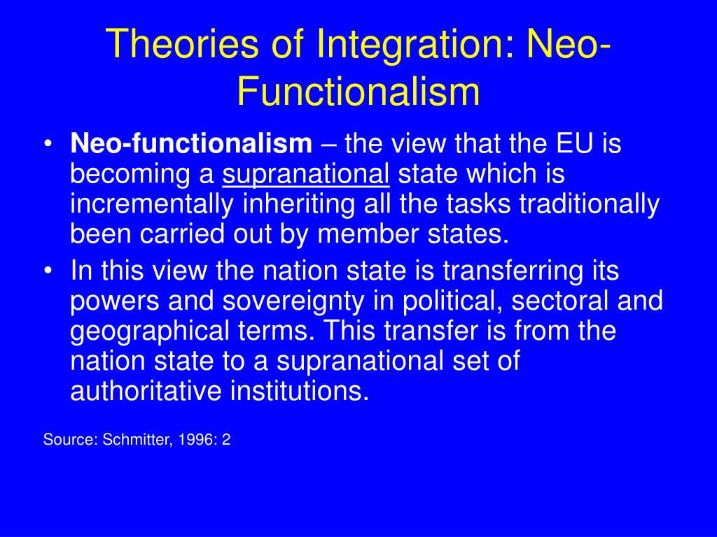 Theories of Integration: Neo-Functionalism