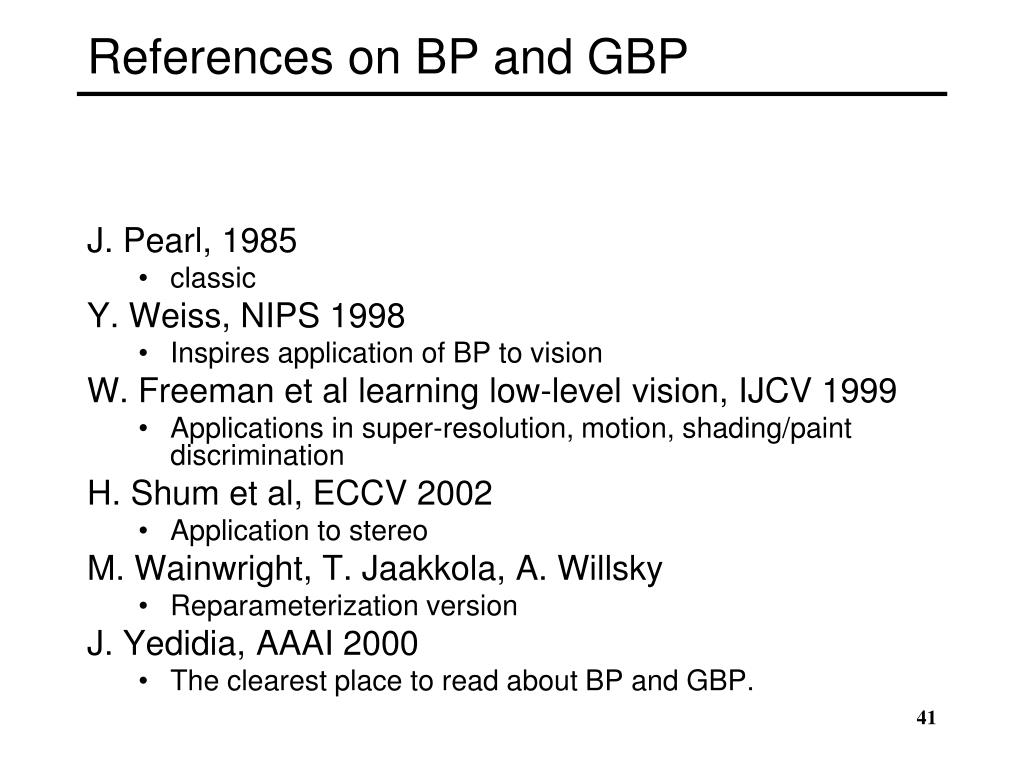 References on BP and GBP