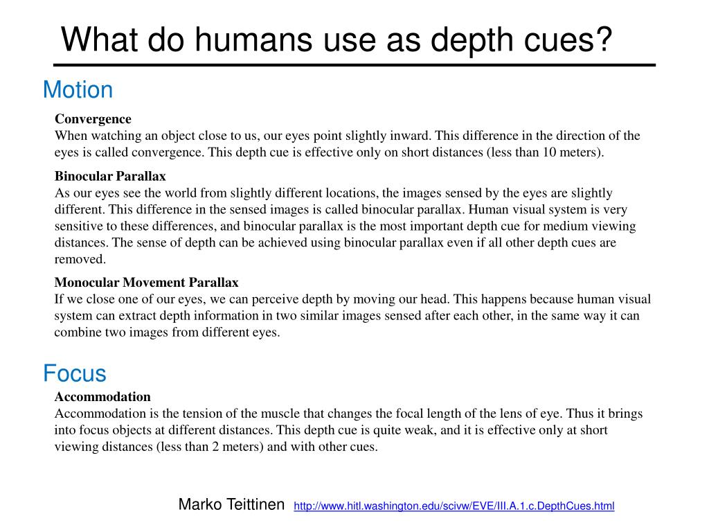 What do humans use as depth cues?