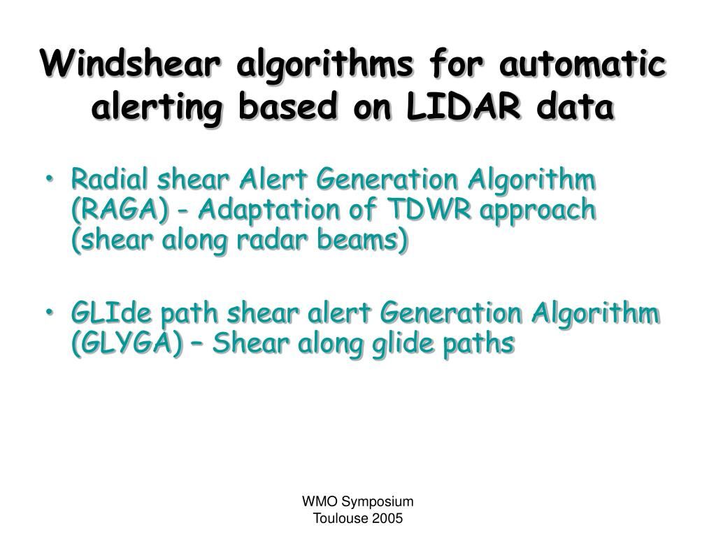 Windshear algorithms for automatic alerting based on LIDAR data