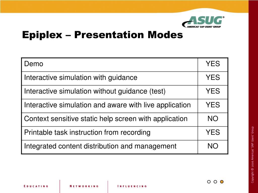 Epiplex – Presentation Modes