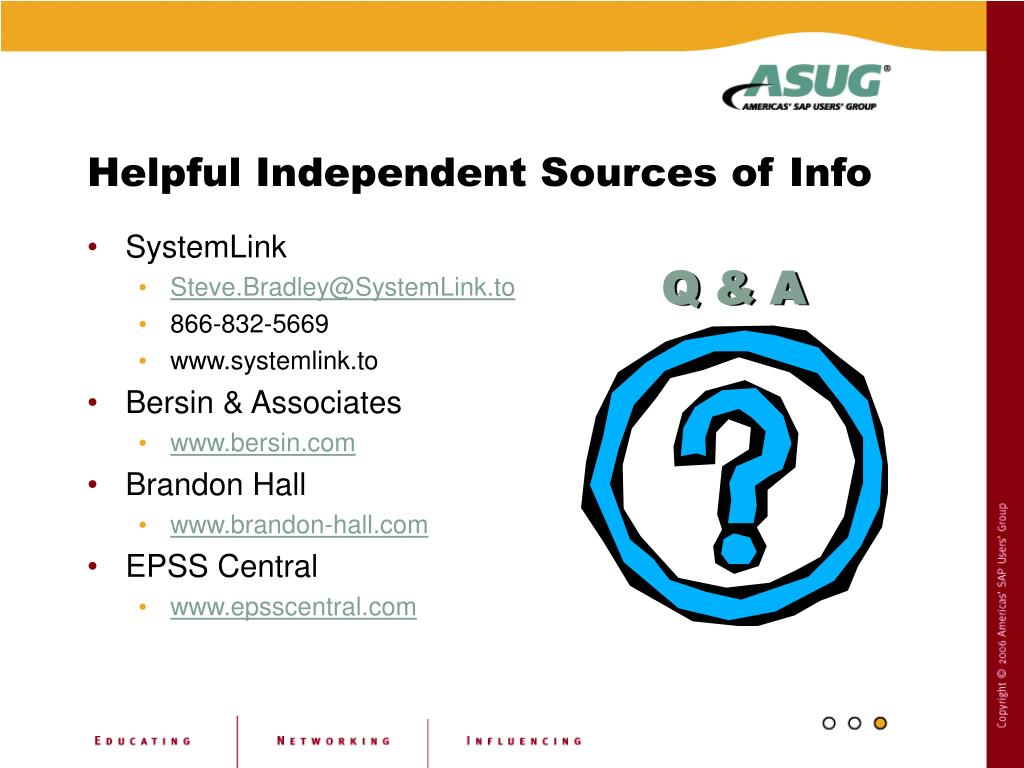Helpful Independent Sources of Info