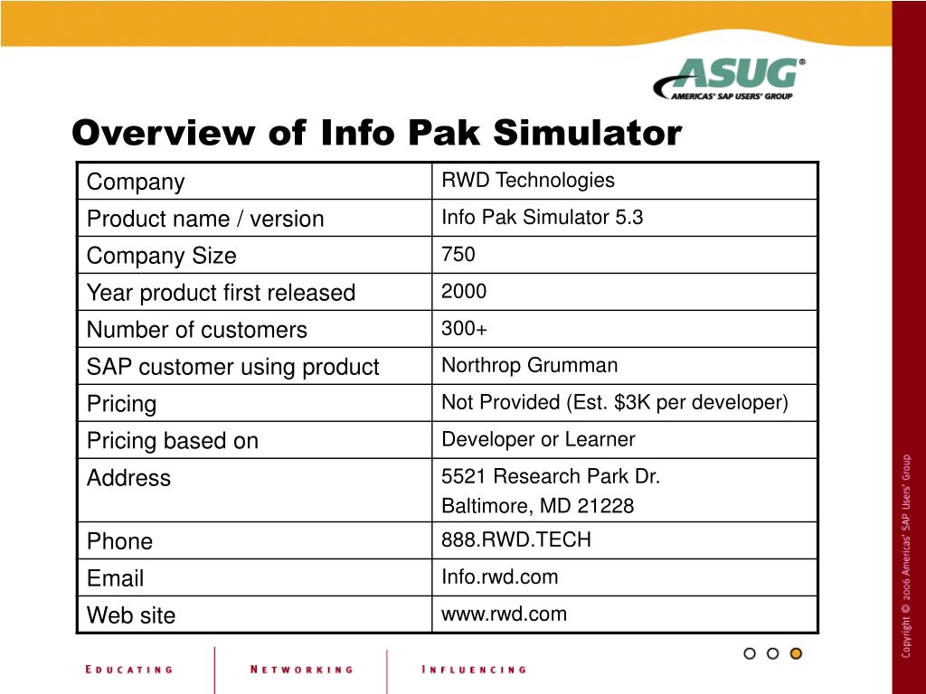 Overview of Info Pak Simulator