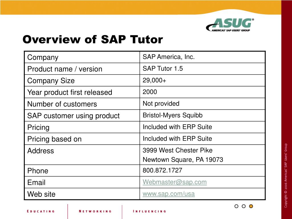 Overview of SAP Tutor