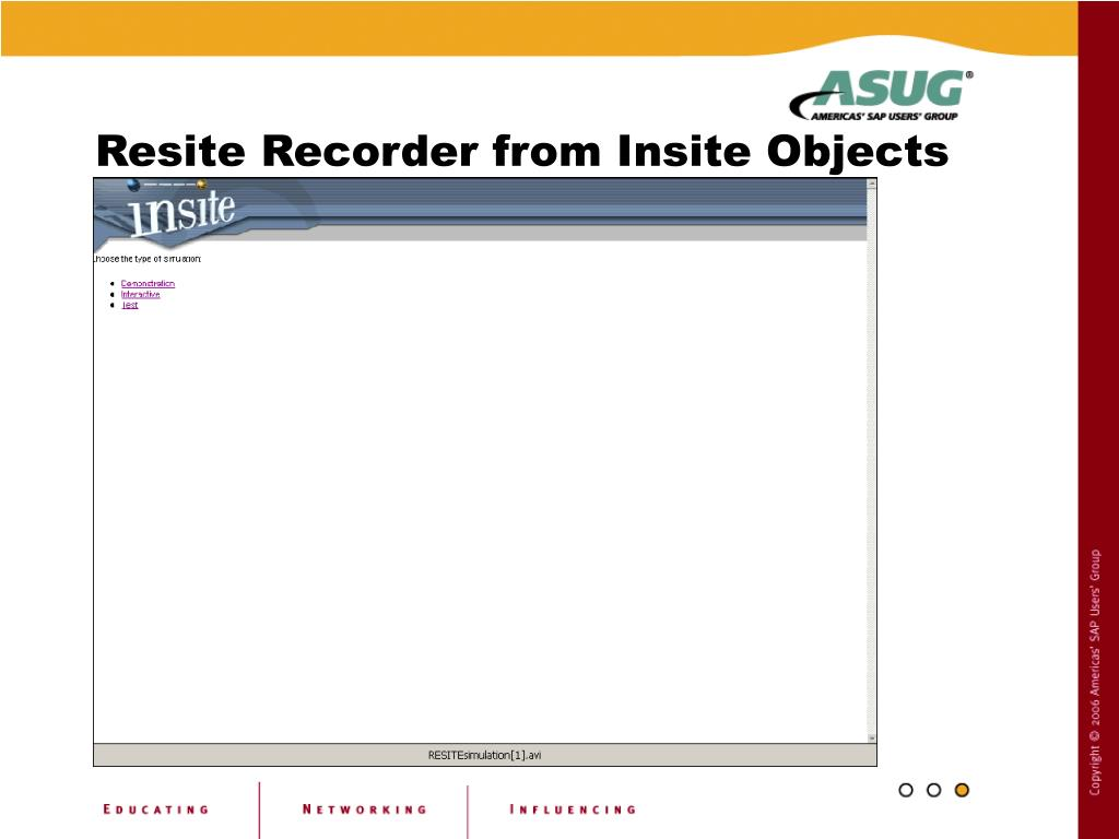 Resite Recorder from Insite Objects