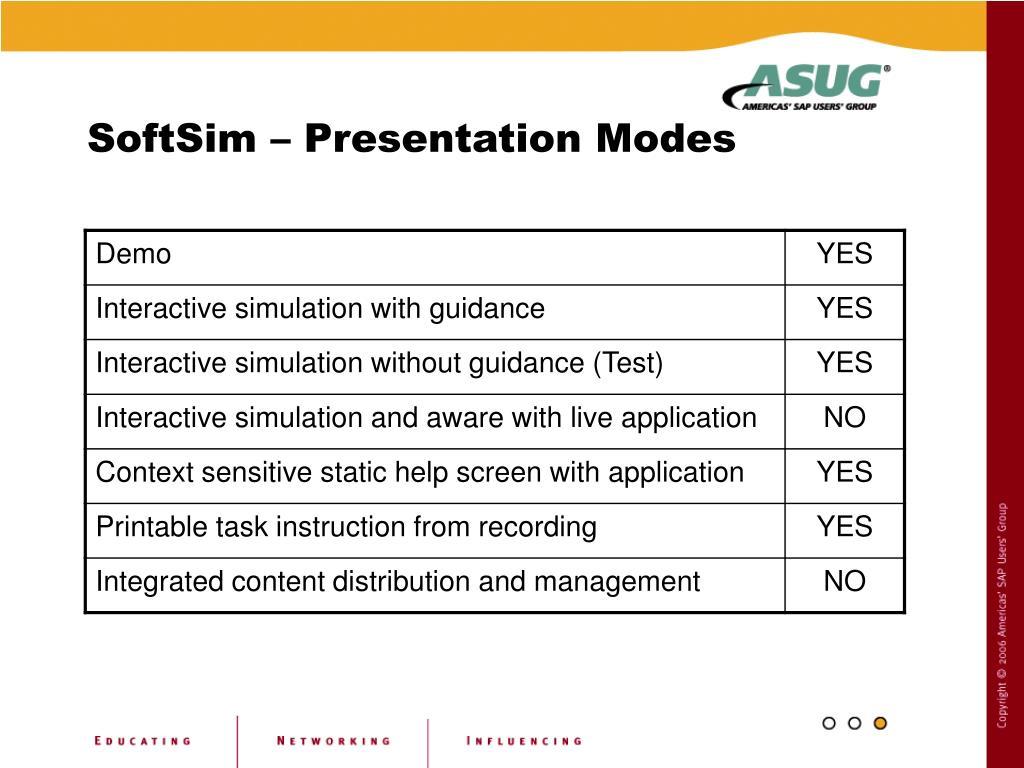 SoftSim – Presentation Modes