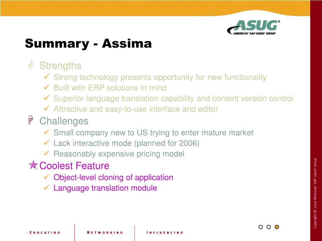 Summary - Assima