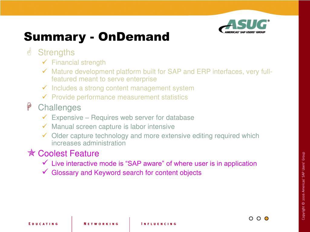 Summary - OnDemand