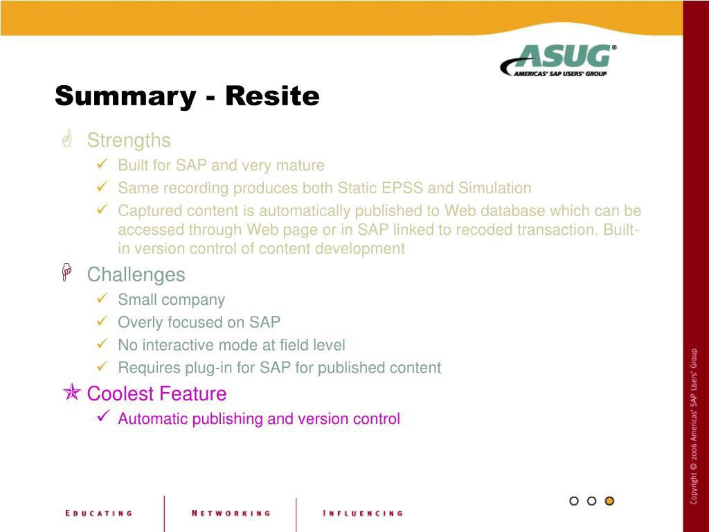 Summary - Resite