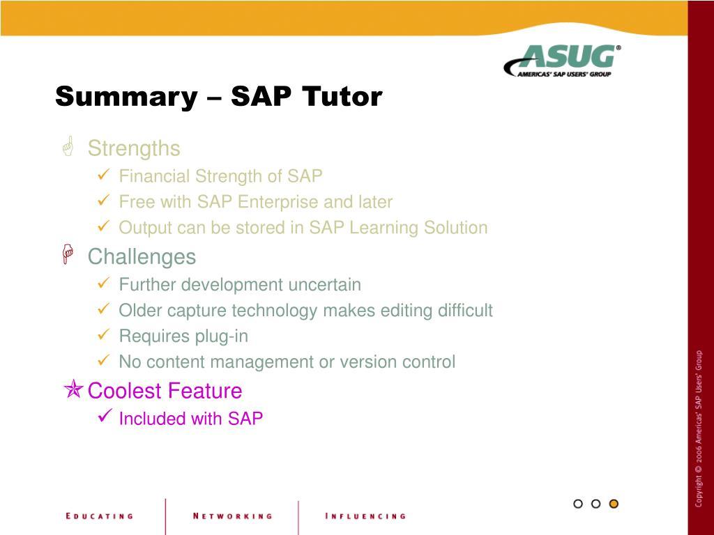 Summary – SAP Tutor