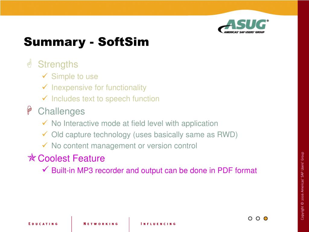 Summary - SoftSim
