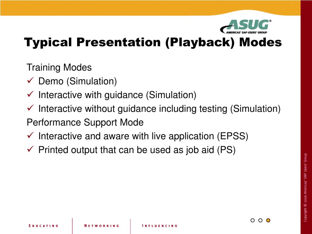 Typical Presentation (Playback) Modes