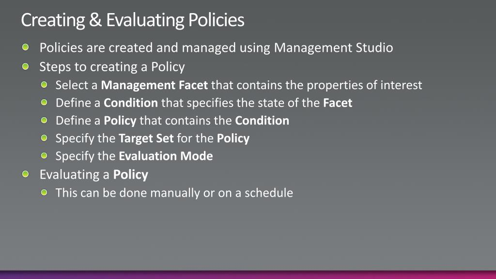 Creating & Evaluating Policies