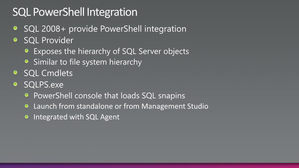 SQL PowerShell Integration