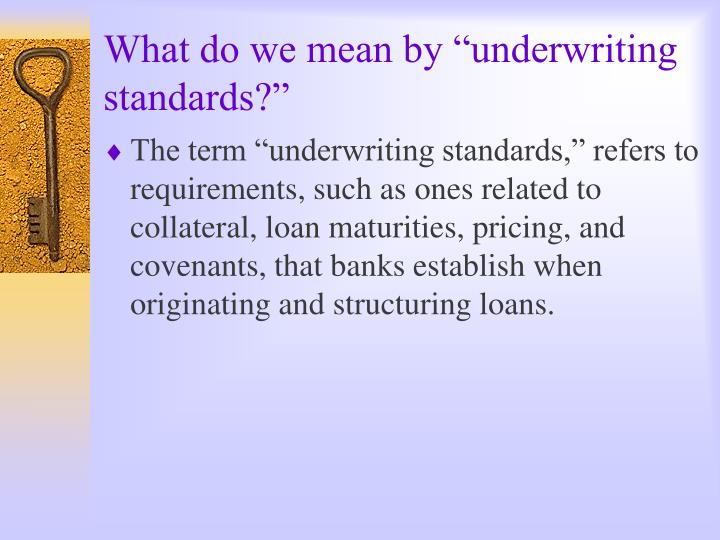 What do we mean by underwriting standards